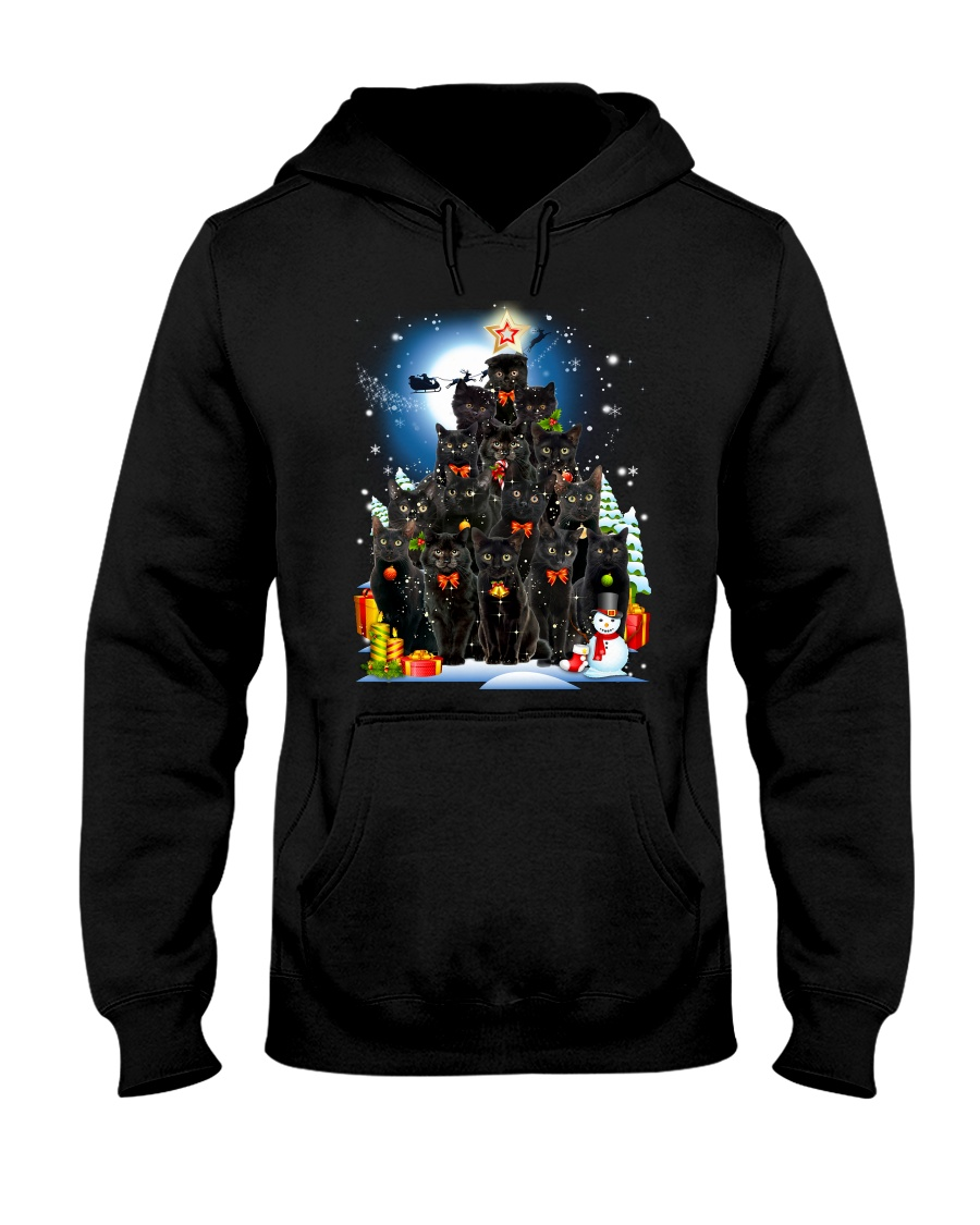 Black Cat Christmas 3007 Hooded Sweatshirt