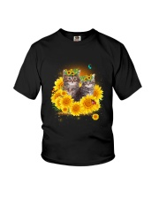 Cats and sunflowers Youth T-Shirt thumbnail