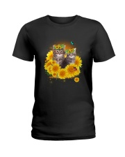 Cats and sunflowers Ladies T-Shirt thumbnail