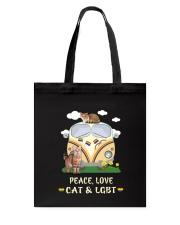 Peace Love Cat LGBT Tote Bag thumbnail