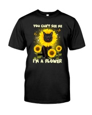 Black cat and flower Classic T-Shirt thumbnail