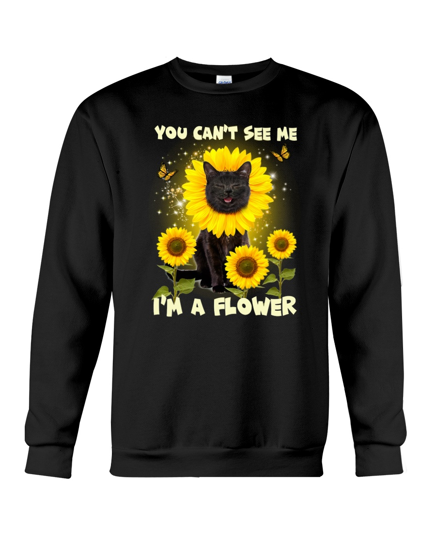 Black cat and flower Crewneck Sweatshirt