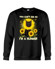 Black cat and flower Crewneck Sweatshirt front