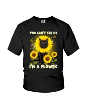 Black cat and flower Youth T-Shirt thumbnail