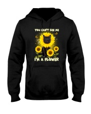 Black cat and flower Hooded Sweatshirt thumbnail