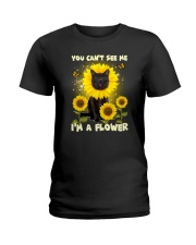 Black cat and flower Ladies T-Shirt thumbnail