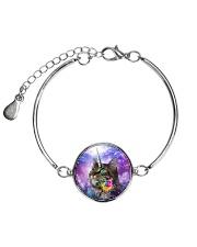 Maine cooncorn in the galaxy  Metallic Circle Bracelet thumbnail