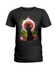 Black Cat Looking Ornament Christmas Ladies T-Shirt thumbnail