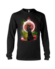 Black Cat Looking Ornament Christmas Long Sleeve Tee front
