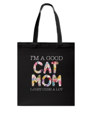 Cat Mom and flowers Tote Bag thumbnail