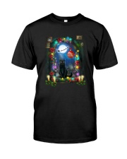 Black cat and window Xmas Classic T-Shirt tile