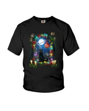 Black cat and window Xmas Youth T-Shirt tile