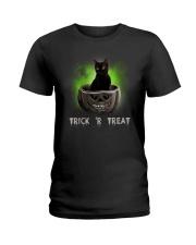 Black cat Trick or Treat 0808 Ladies T-Shirt thumbnail