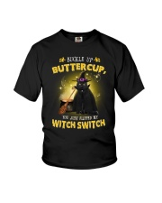 Black cat and witch Youth T-Shirt thumbnail