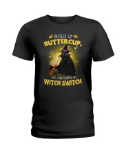 Black cat and witch Ladies T-Shirt thumbnail