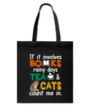 Books Tea Cats Tote Bag thumbnail