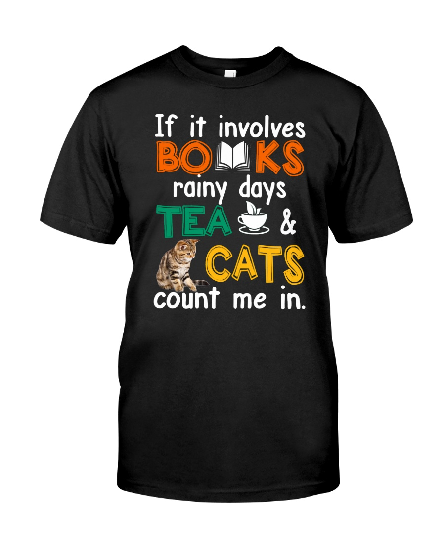 Books Tea Cats Classic T-Shirt