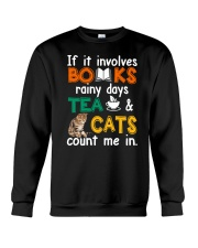 Books Tea Cats Crewneck Sweatshirt thumbnail
