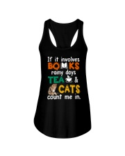 Books Tea Cats Ladies Flowy Tank thumbnail