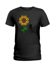 Sunflower and black cat Ladies T-Shirt thumbnail