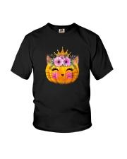 Cute Cat Pumpkin Youth T-Shirt thumbnail