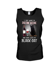 Black cat and wine Unisex Tank tile