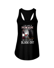 Black cat and wine Ladies Flowy Tank thumbnail