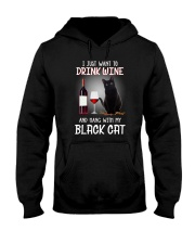 Black cat and wine Hooded Sweatshirt thumbnail
