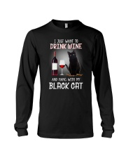 Black cat and wine Long Sleeve Tee thumbnail
