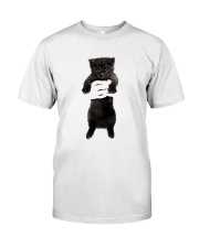 Black cat and hand Classic T-Shirt front