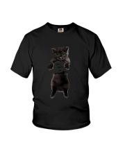 Black cat and hand Youth T-Shirt thumbnail