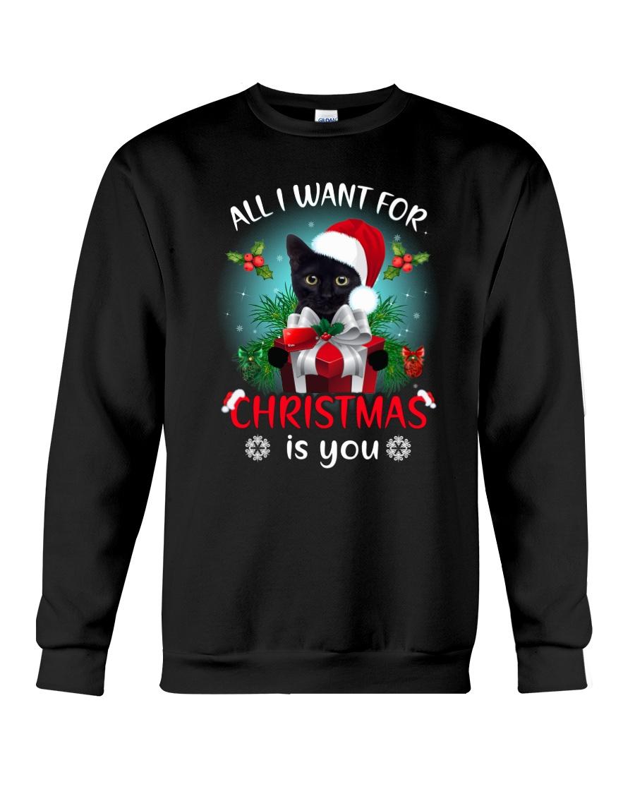 Black cat for Christmas Crewneck Sweatshirt