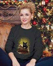 Black Cat My Book 0712 Crewneck Sweatshirt lifestyle-holiday-sweater-front-2