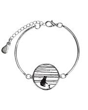 Black Cat Drawing  Metallic Circle Bracelet thumbnail