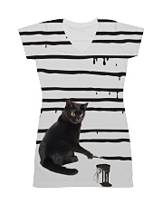 Black Cat Drawing  All-over Dress thumbnail