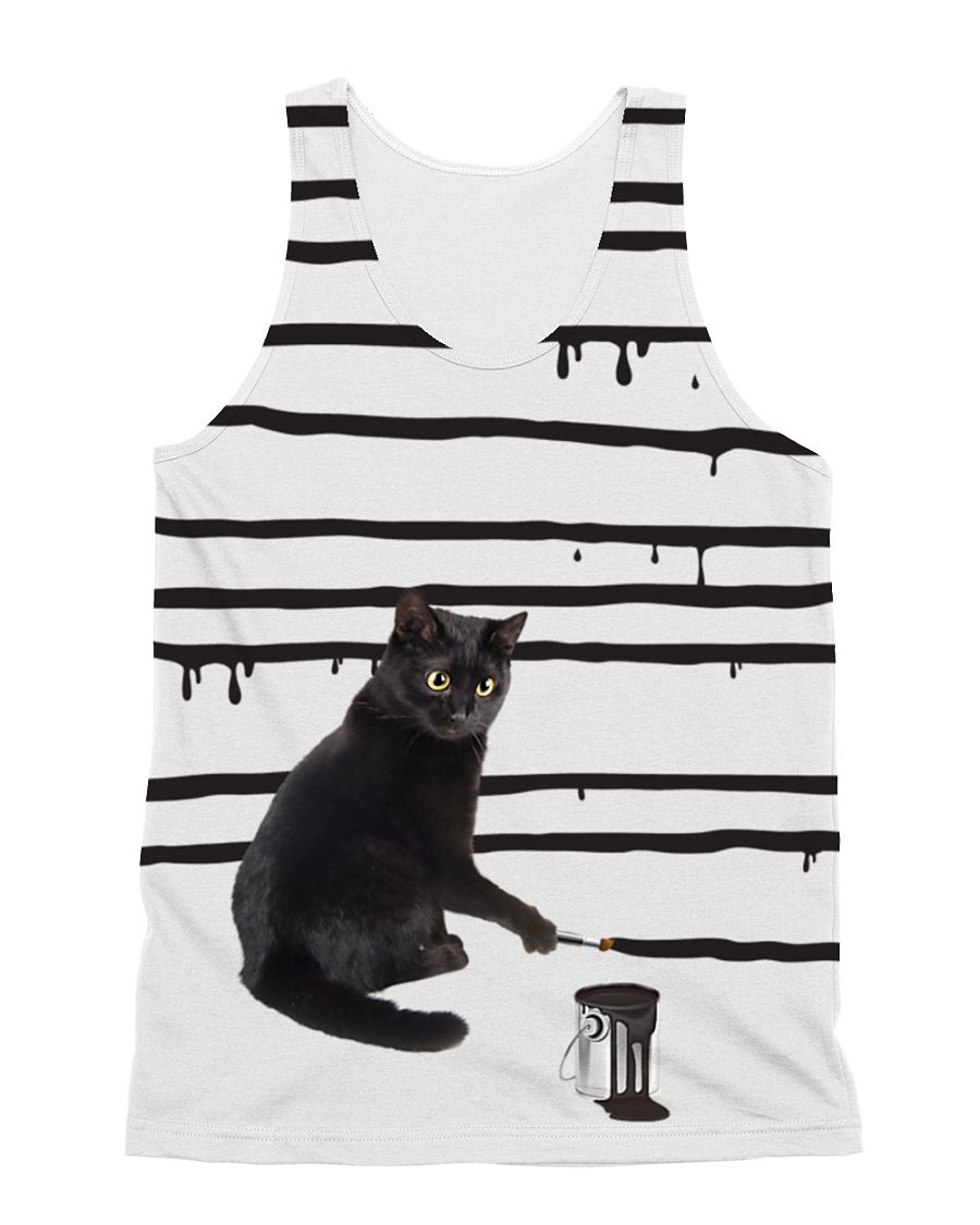 Black Cat Drawing  All-over Unisex Tank