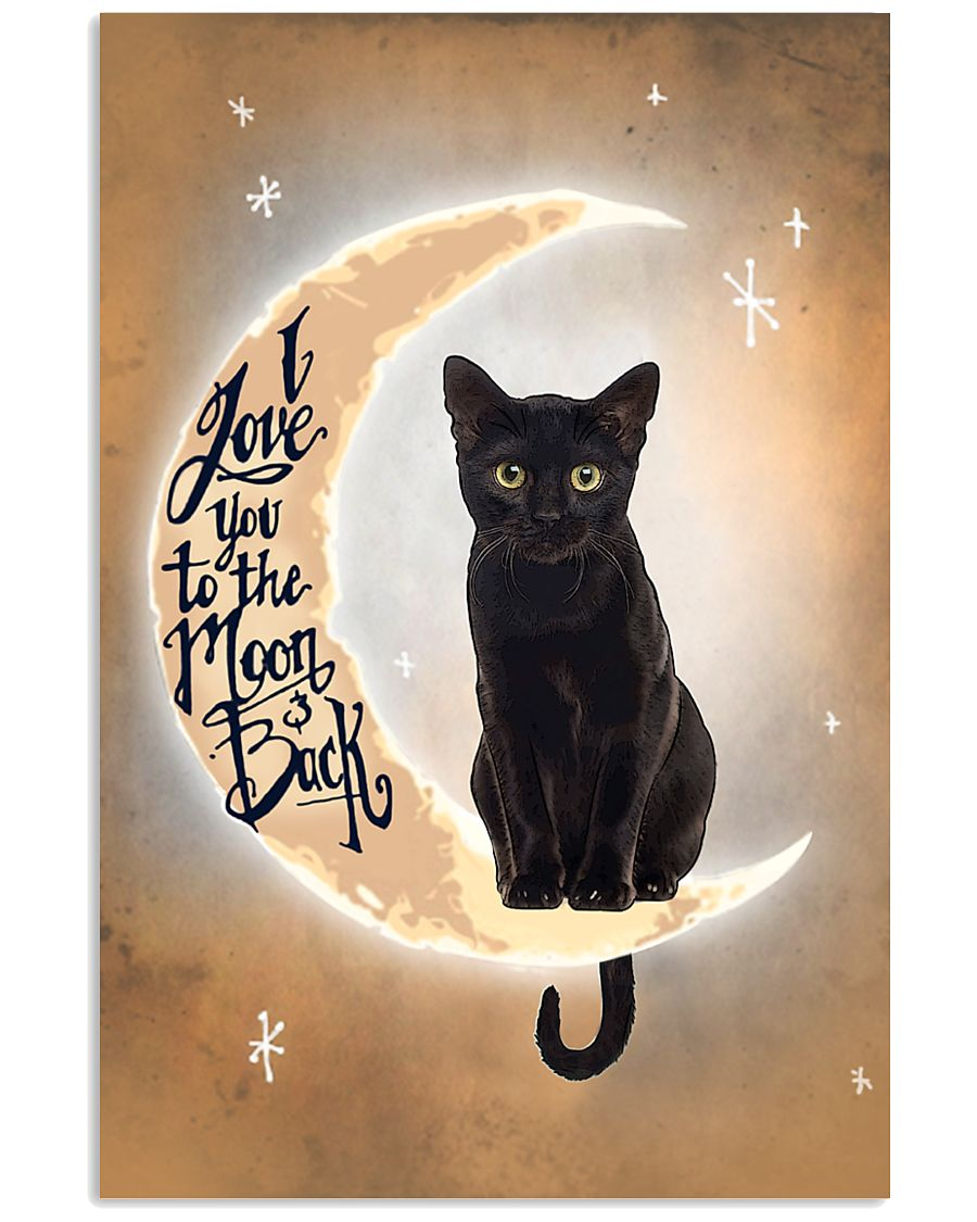 Black Cat Love Moon And Back 2512 11x17 Poster