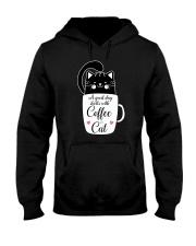Black cat Coffee 1712 Hooded Sweatshirt front