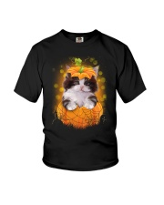 Cute cat Halloween Youth T-Shirt tile