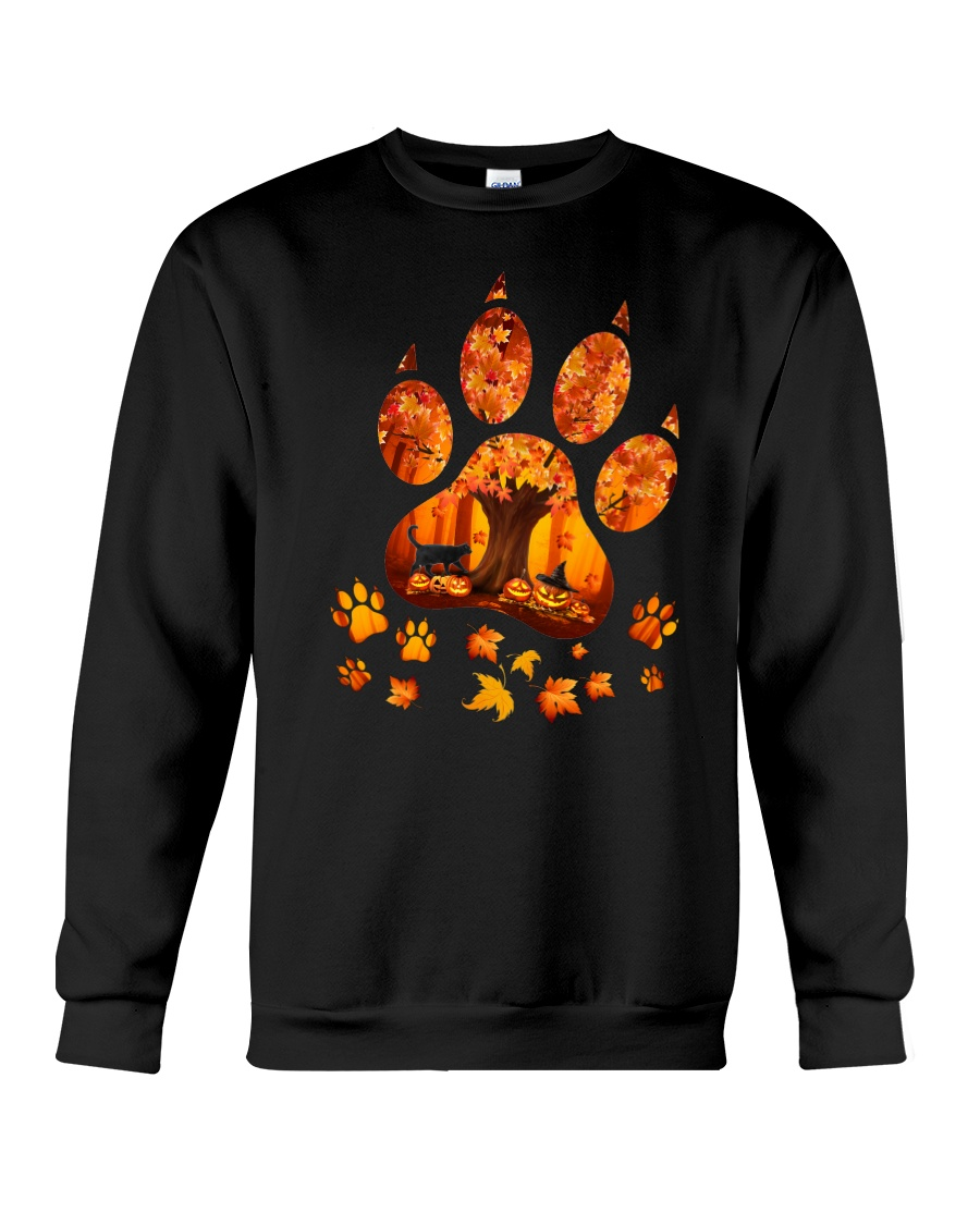 Black Cat Maple Tree 2509 Crewneck Sweatshirt
