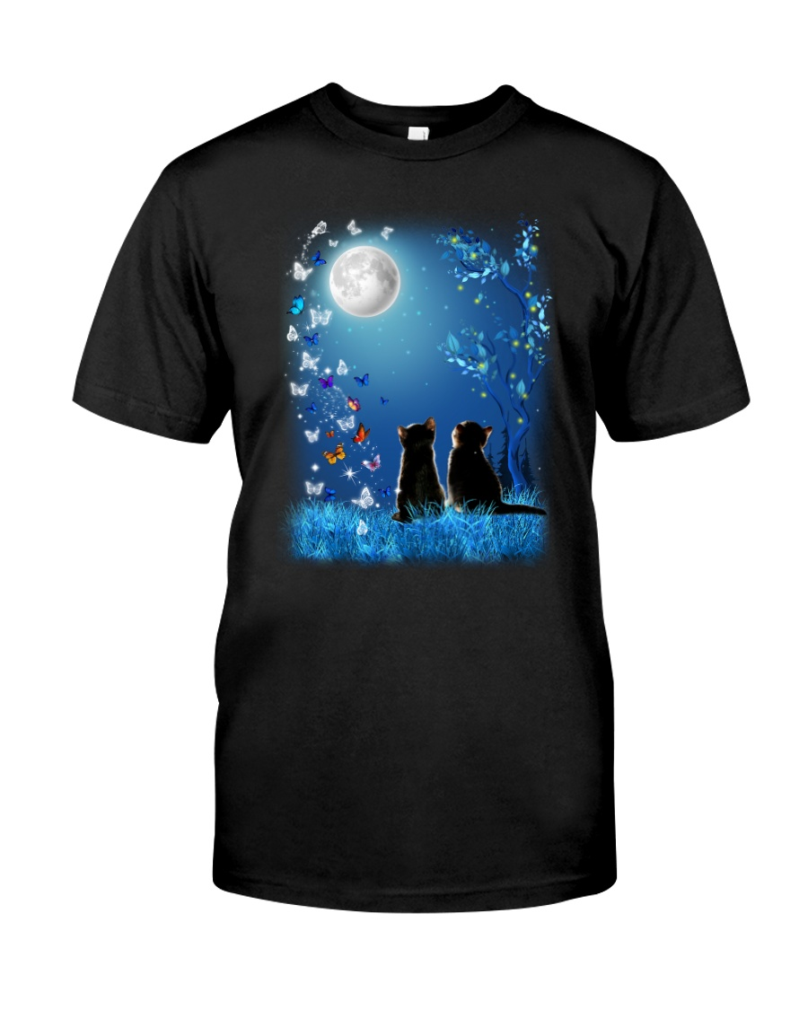 Cat with butterfly at night 2009 Classic T-Shirt