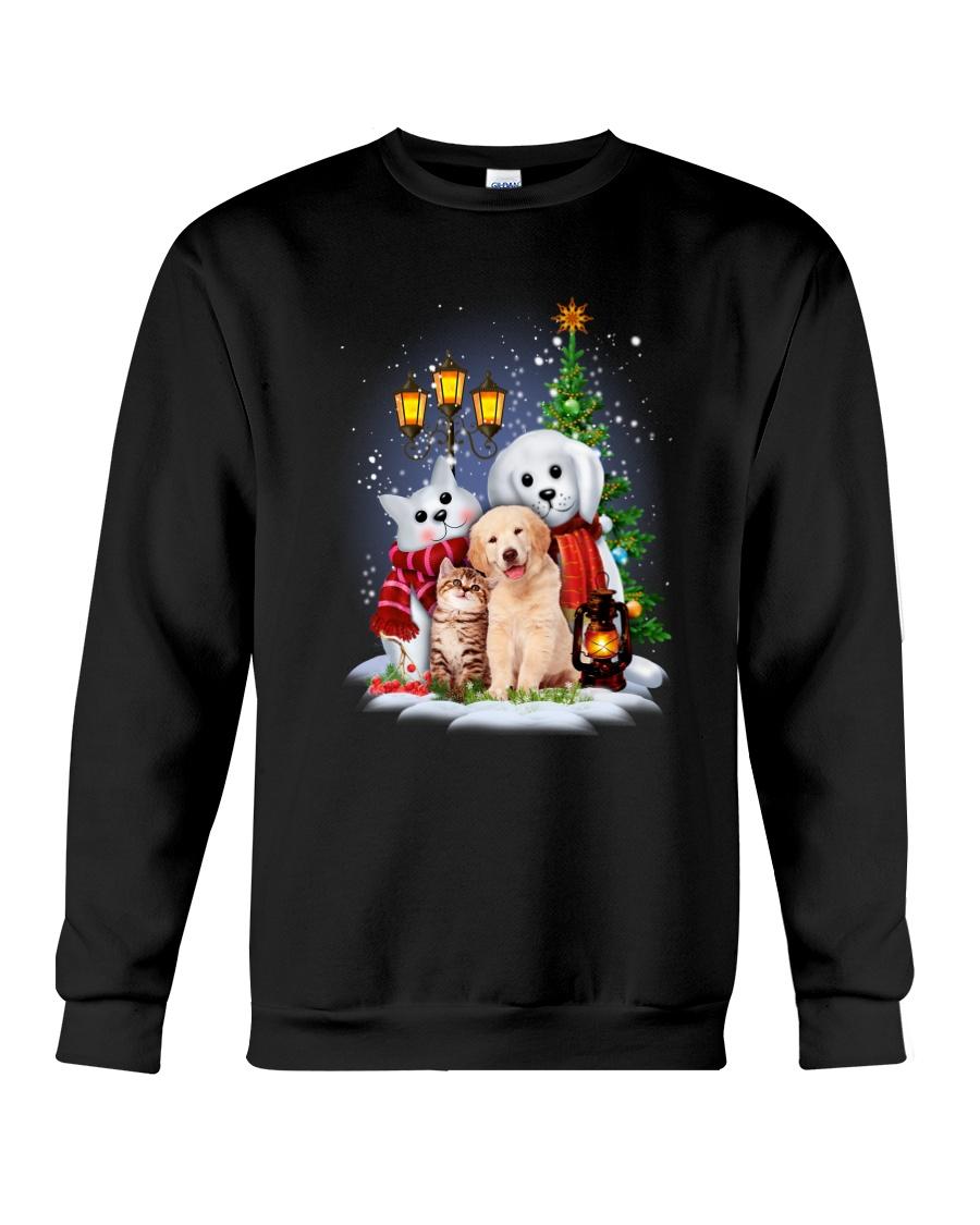 Cat Dog and Snowman Crewneck Sweatshirt