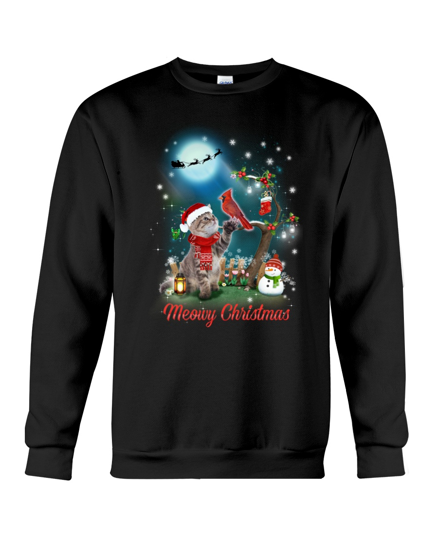 Cat and Cardinal Xmas Crewneck Sweatshirt
