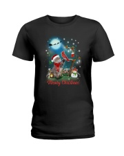 Cat and Cardinal Xmas Ladies T-Shirt thumbnail