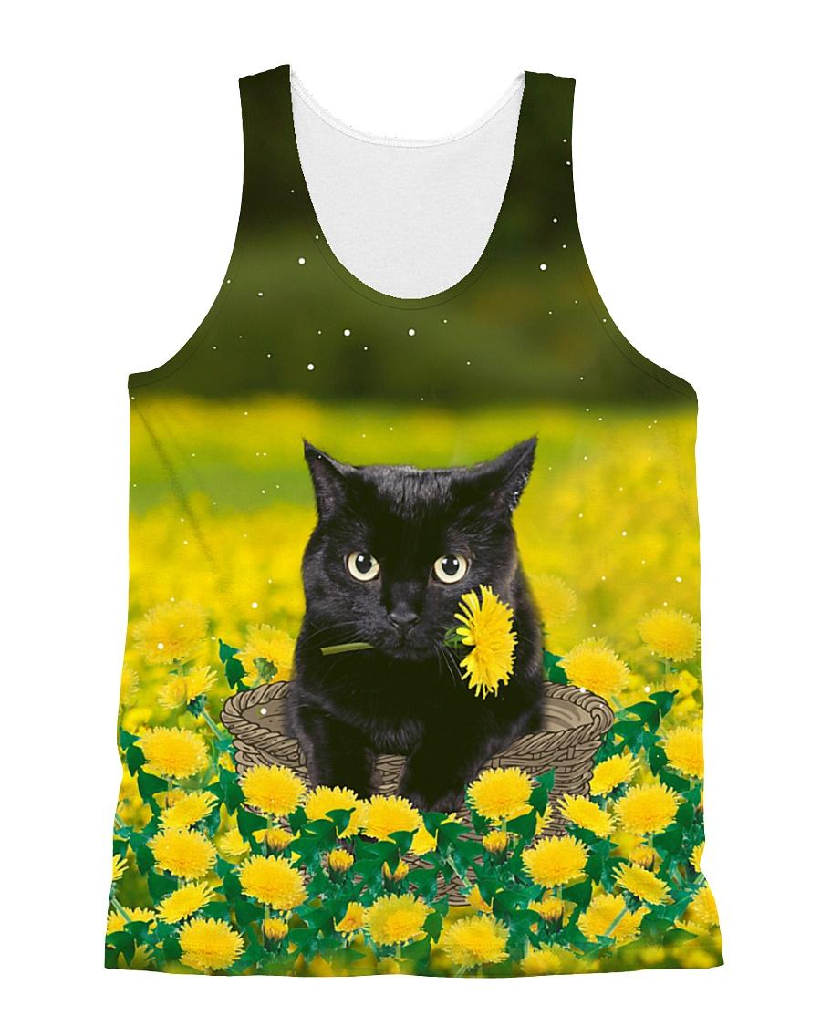 Black Cat in Garden 0609 All-over Unisex Tank