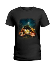 Black Cat Halloween Ladies T-Shirt thumbnail