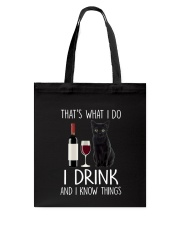 Black cat and drink Tote Bag thumbnail