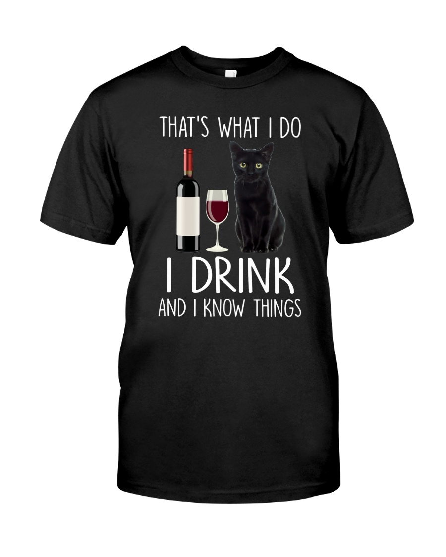 Black cat and drink Classic T-Shirt