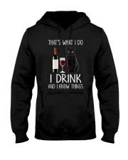 Black cat and drink Hooded Sweatshirt thumbnail