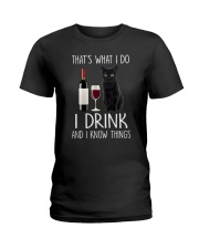 Black cat and drink Ladies T-Shirt thumbnail